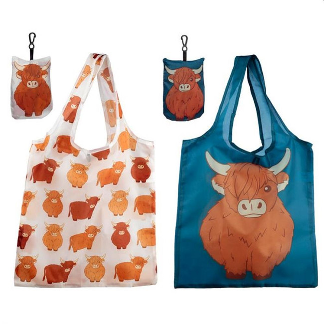 Foldable Reusable Shopping Bag - Highland Coo Cow