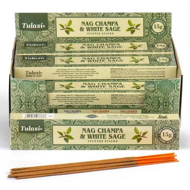 37299 Tulasi White Sage Nag Champa Incense Sticks