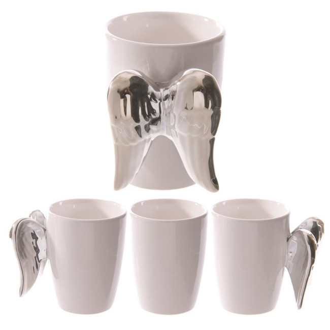 Ceramic White Angel Mug with Silver Wings Handle
