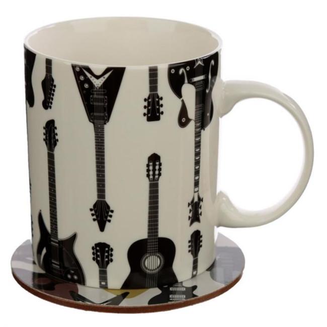 Headstock Guitar Porcelain Mug & Coaster Set
