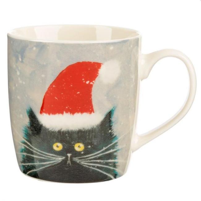 Kim Haskins Christmas Cat Porcelain Mug