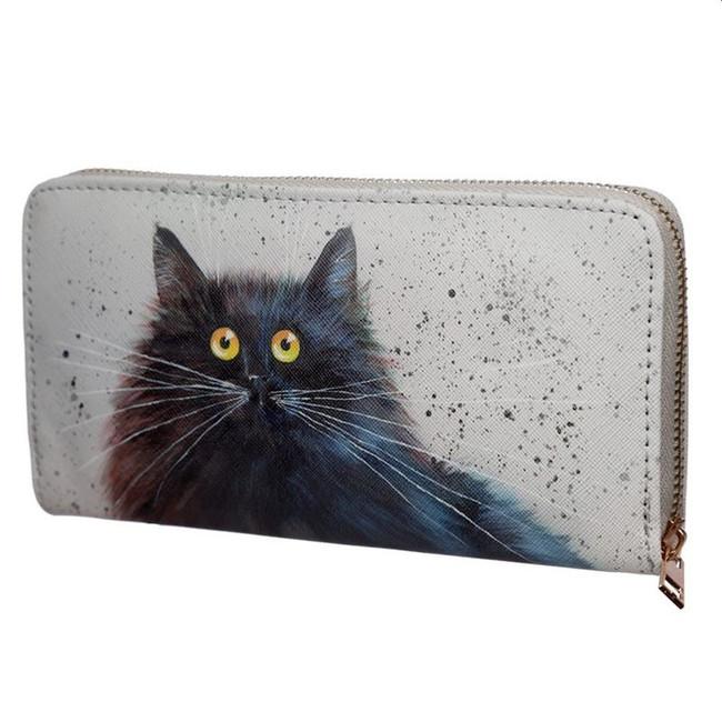 Kim Haskins Cat Zip Around Large Wallet Purse
