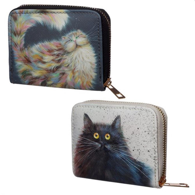 Kim Haskins Cat Zip Around Small Wallet Purse