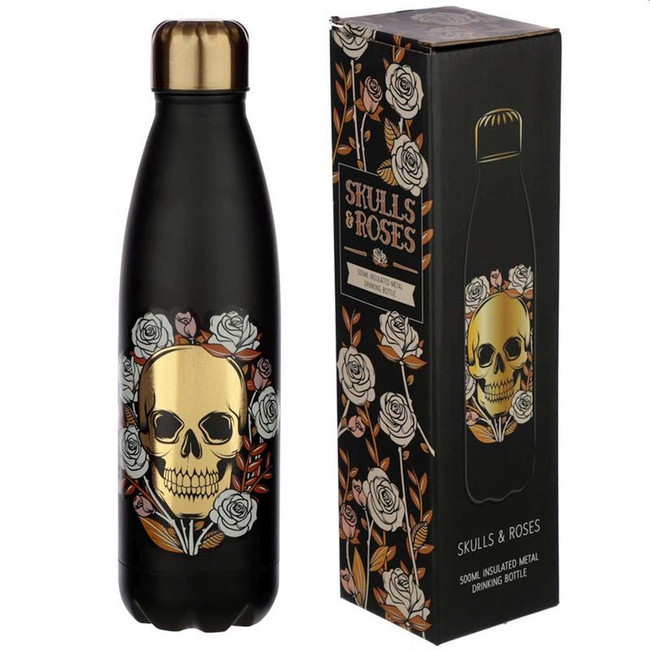 Skulls and Roses Reusable Stainless Steel Hot & Cold Thermal Insulated Drinks Bottle 500ml