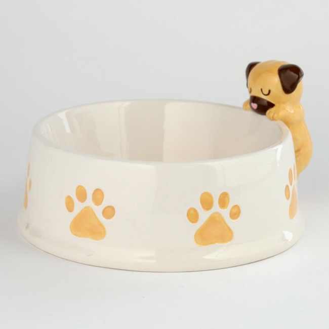 Ceramic Brown Dog on Rim Pet Food Bowl