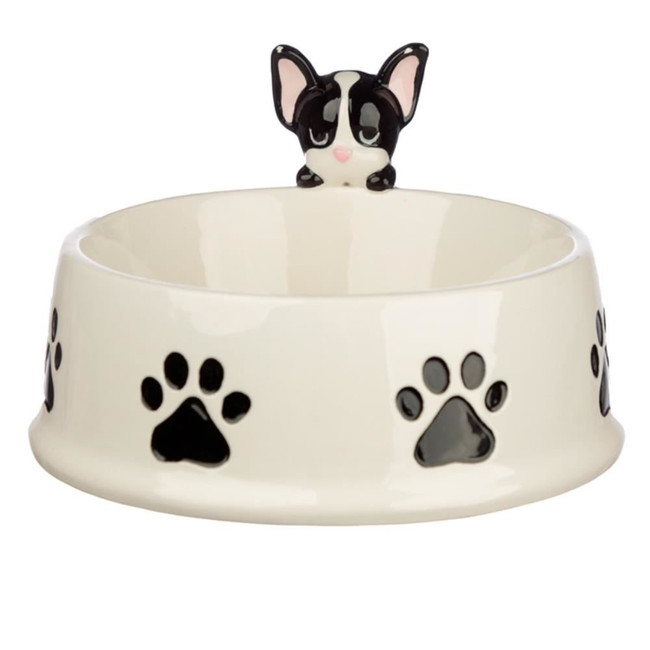 Ceramic French Bulldog on Rim Pet Food Bowl
