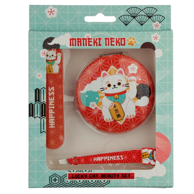 Maneki Neko Lucky Cat Compact Mirror, Nail File and Tweezers Beauty Set