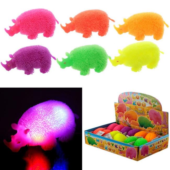 Colourful Rhino Squidgy LED Puff Pet