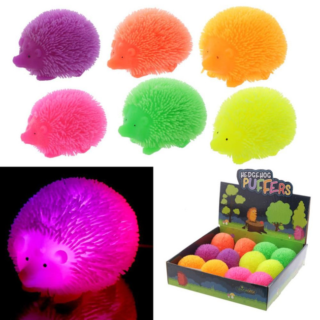Colourful Hedgehog Squidgy LED Puff Pet