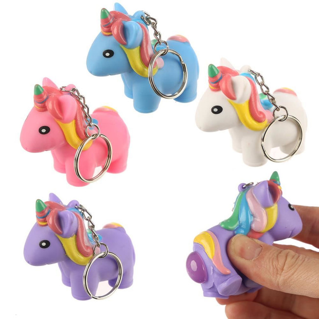 Squeezy Pooping Unicorn Keyring Key Chain