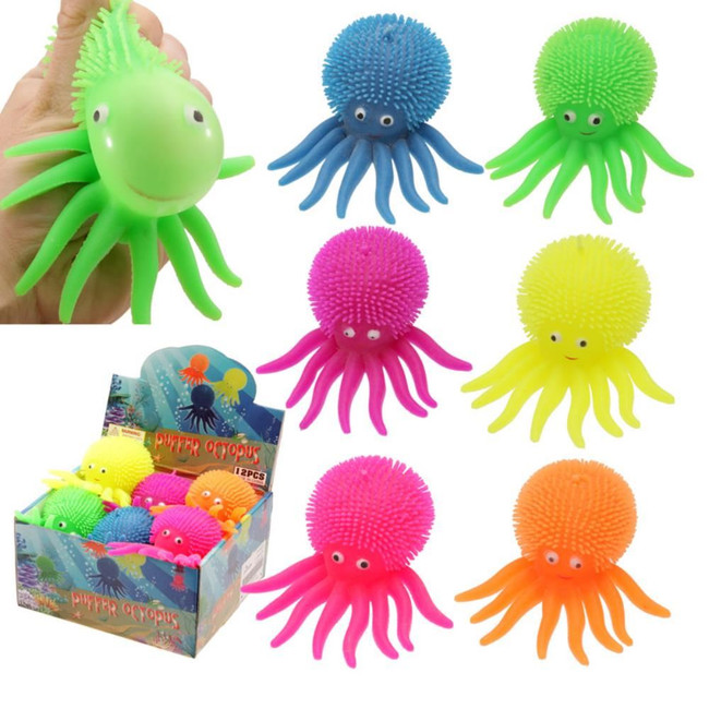 Colourful Squeezy Flashing Puff Pet Octopus