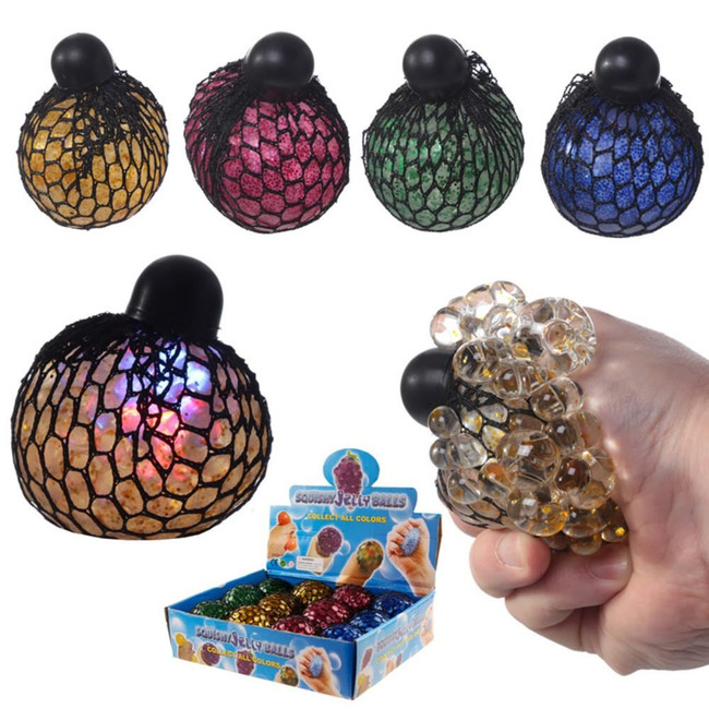 LED Squeezable Rainbow Ball in Net