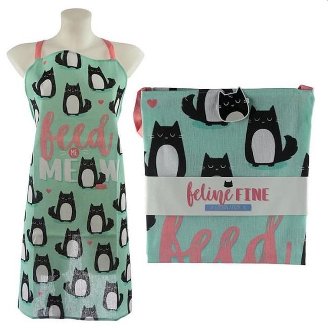 Poly Cotton Apron - Cat Feline Fine Feed Me Meow