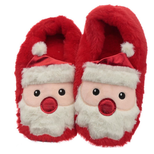 Plush Christmas Santa Heat Pack Slippers (Unisex One Size)