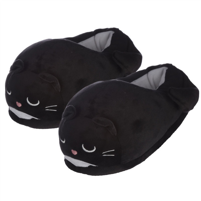 Feline Fine Black Cat Slippers (Unisex One Size)
