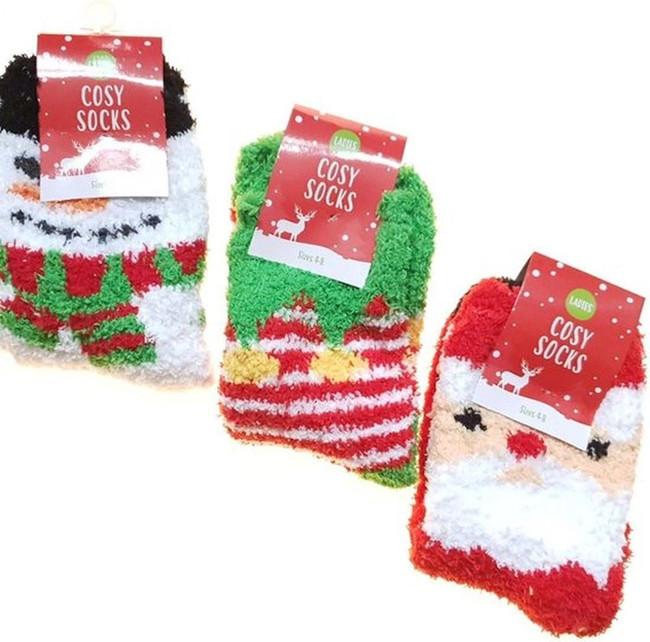 3 Pairs Ladies Christmas Cosy Socks