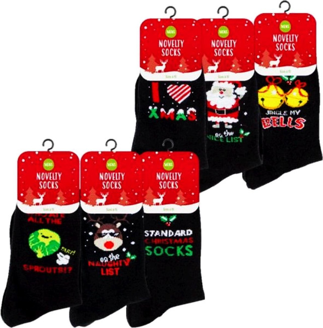 6 Pairs Mens Christmas Novelty Socks