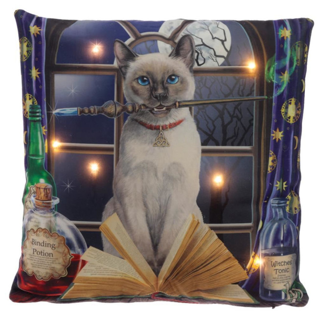 Lisa Parker Hocus Pocus Cat Design LED Cushion