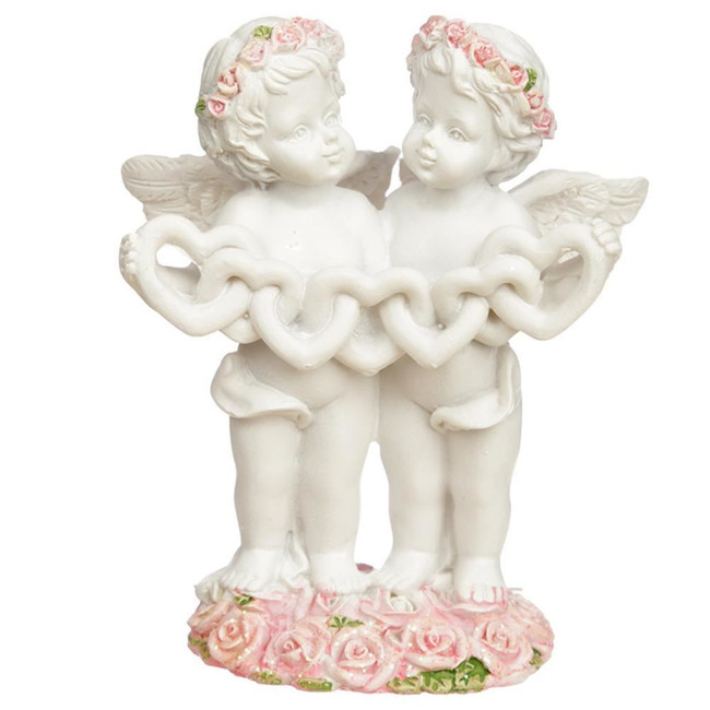 Heart Chain Rose Cherub Figurine