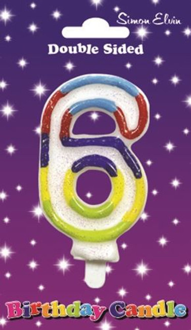 Candle Birthday Number 6 Glittered,