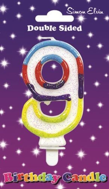 Candle Birthday Number 9 Glittered,