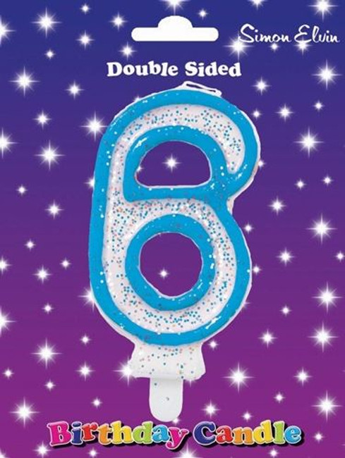 Candle Birthday Number 6 Blue,