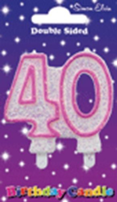 Candle Milestone  Number 40 Pink,