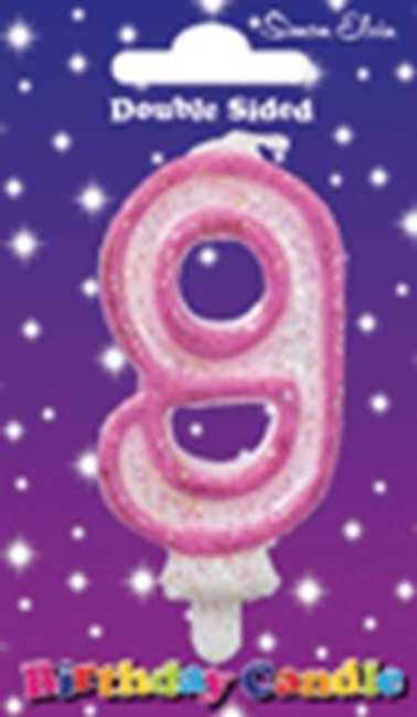 Candle Birthday Number 9 Pink,