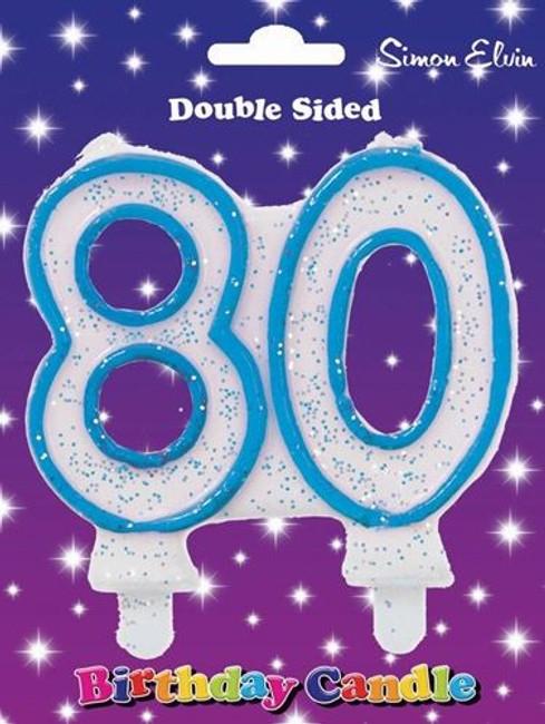 Candle Milestone  Number 80 Blue,