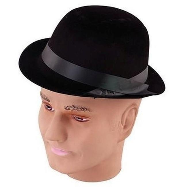 Black Flock Bowler Hat.