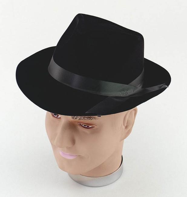 Gangster Hat. Black Flock.