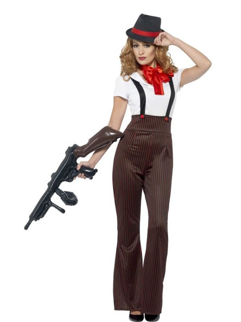Glam Gangster Costume, Medium, Fancy Dress, Womens, UK 12-14
