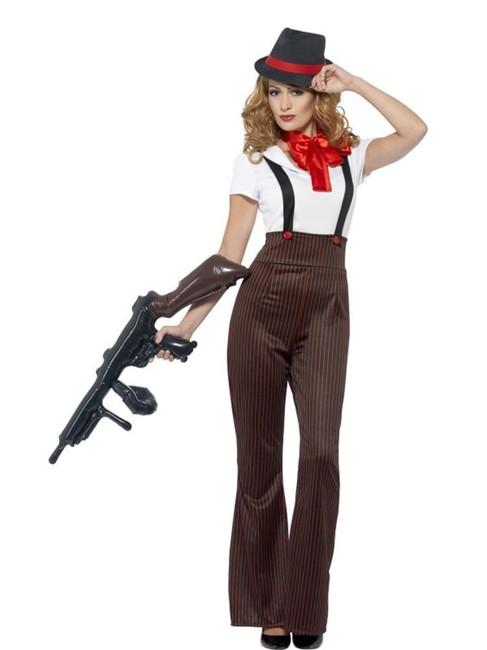 Glam Gangster Costume, XL, Fancy Dress, Womens, UK 20-22