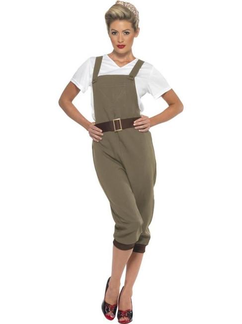 WW2 Land Girl Costume, 1940's Wartime Fancy Dress. UK Size 20-22