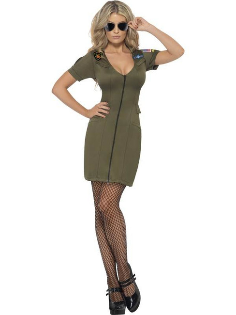 Sexy Top Gun Costume, UK Dress 12-14