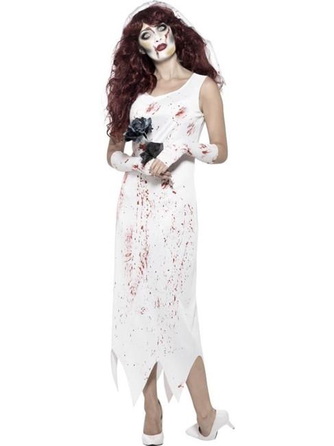 Zombie Bride Costume, XS, Halloween Fancy Dress, Womens, UK 4-6