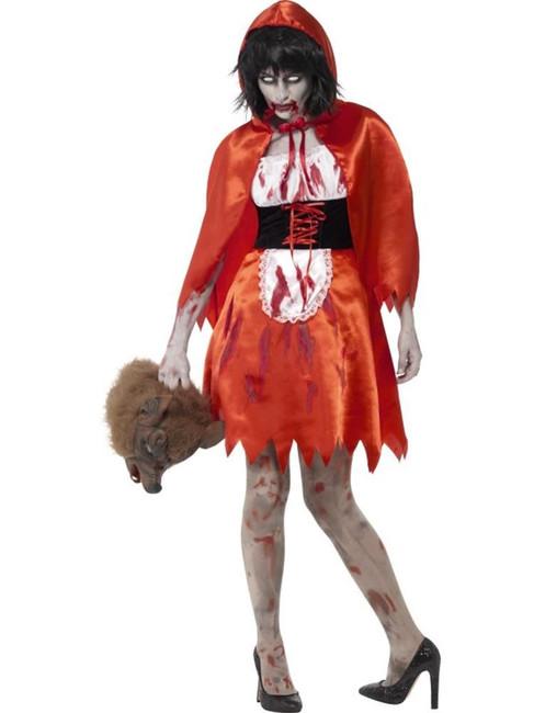 Zombie Little Miss Hood Costume, XS, Halloween Fancy Dress, Womens, UK 4-6