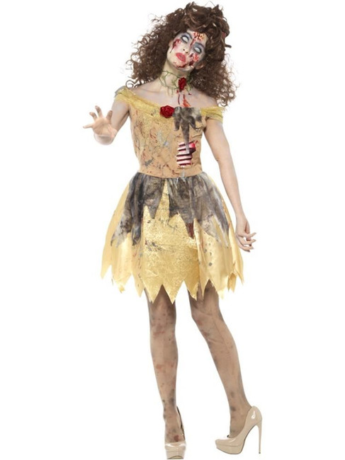 Zombie Golden Fairytale Costume,Halloween Zombie Fancy Dress,UK Size 8-10