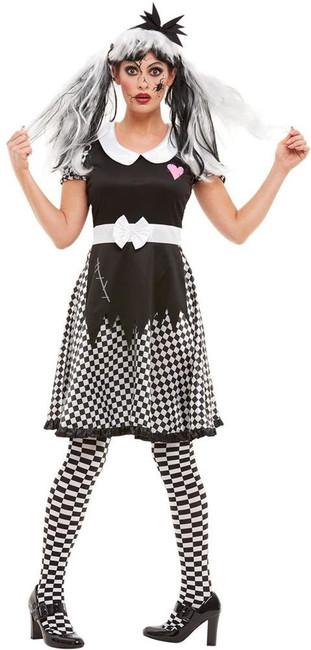 Broken Doll Costume, Womens Halloween Fancy Dress, UK Size 4-6
