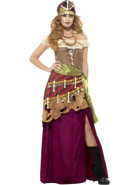 Deluxe Voodoo Priestess Costume, Halloween Adult Fancy Dress. UK Size 12-14