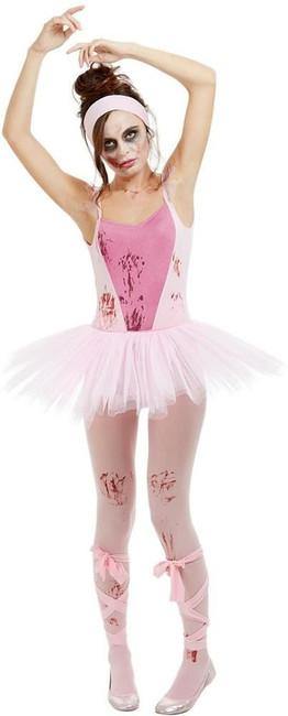 Zombie Ballerina Costume, Womens Halloween Fancy Dress, UK Size 16-18