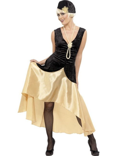 20s Gatsby Girl Costume, Black and Gold, UK Dress 20-22