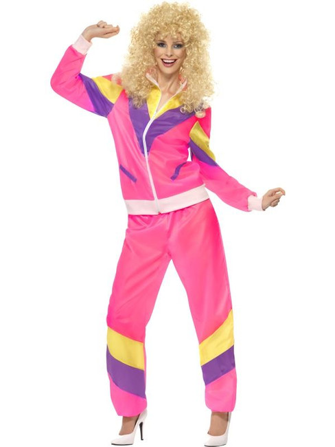 80's Height of Fashion Shell Suit Costume, UK Dress 8-10