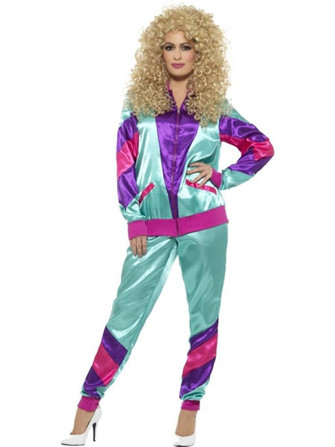 80's Height of Fashion Shell Suit Costume,1980's Fancy Dress, Multi, UK Size 12-14