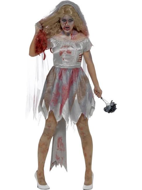 Deluxe Zombie Bride Costume,Halloween Zombie Alley Fancy Dress,UK Size 8-10