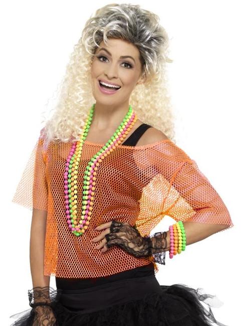Neon Orange Fishnet Top, 1980's Fancy Dress. UK Size 16-22