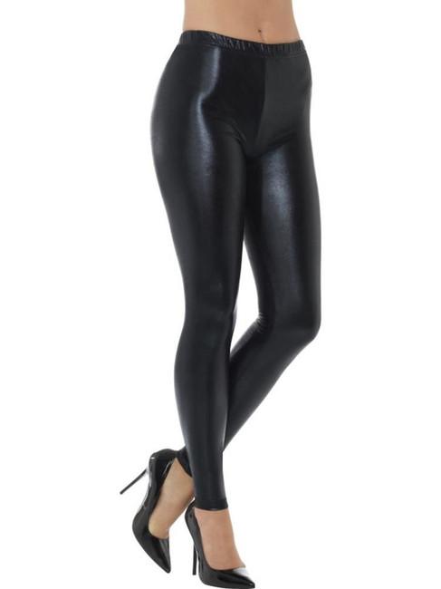 80's Metallic Disco Leggings, 1980's Fancy Dress. Black UK Size 12-14