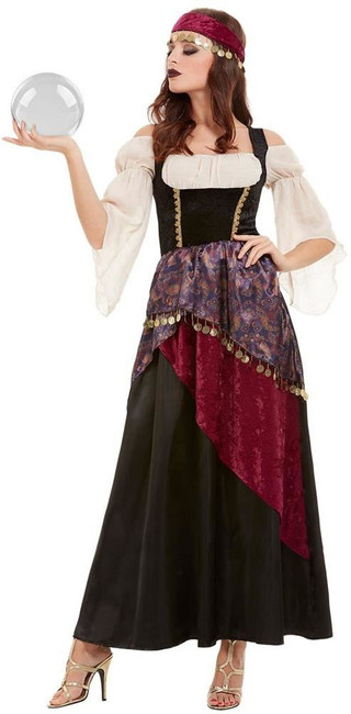 Deluxe Fortune Teller Costume, Womens Fancy Dress, UK Size 4-6