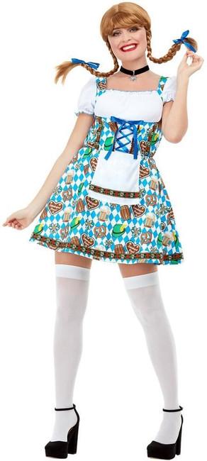 Oktoberfest Beer Maiden Costume, Womens Fancy Dress, UK Size 16-18