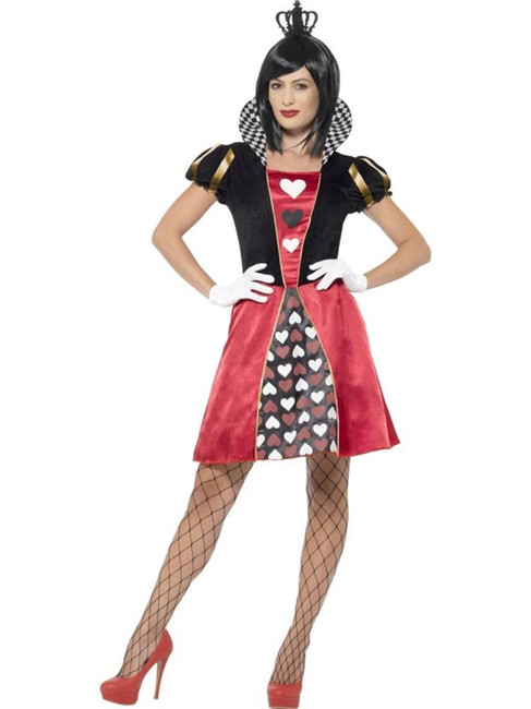 Carded Queen Costume, Small, Queen of Hearts Fancy Dress, Womens, UK 8-10